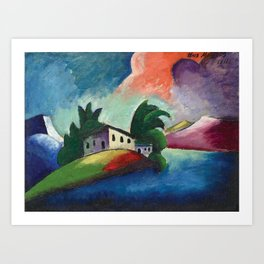 Tuscany, Italy rolling hills and vineyards landscape painting by Ilya Mashkov Art Print