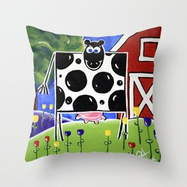 Smiley Smile Dairy Cow Farm Red Barn Moo Holstein Series Milk Flowers Trees Hills Tulips Throw Pillow