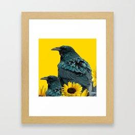 TWO CROW/RAVEN BIRD PORTRAITS & SUNFLOWERS GOLD  ART Framed Art Print