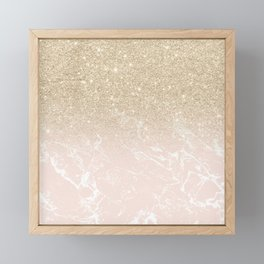 Modern champagne glitter ombre blush pink marble pattern Framed Mini Art Print