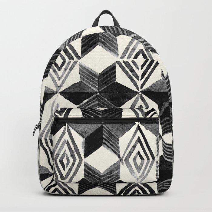 Shibori Diamond Stars Black Earth and Ivory Backpack