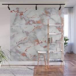 Glam stylish faux rose gold gray abstract blush chic marble Wall Mural