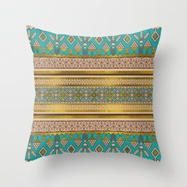 Mexican Style pattern - teal, gold and earthy colors Throw Pillow