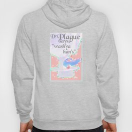 Dr Plague says wash your hands pastel health awareness pixel art inspired 80s style Hoody