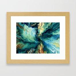 Marbled Ocean Abstract, Navy, Blue, Teal, Green Framed Art Print