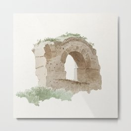 Hand drawn watercolor part of an aqueduct in Rome (ca 1809-1812) by Joseph August Knip Metal Print