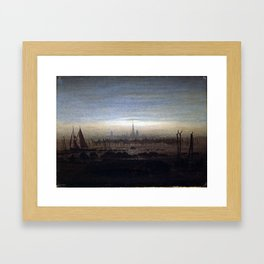 Caspar David Friedrich Greifswald in Moonlight Framed Art Print