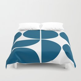 Mid Century Modern Blue Square Duvet Cover