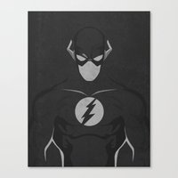dc comics Canvas Prints featuring The Flash Black and White DC Comics Art Print by The Retro Inc