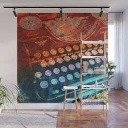 Typewriter Blue Red PopArt Wall Mural