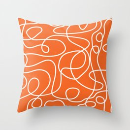 Doodle Line Art | White Lines on Persimmon Orange Throw Pillow