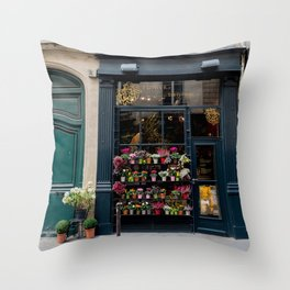 Flower Shop, Paris Throw Pillow