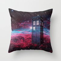 dr who Throw Pillows featuring Dr Who police box  by store2u