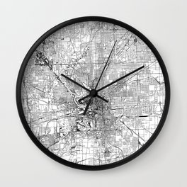 Indianapolis White Map Wall Clock