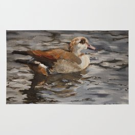 Swimming Duck Oil Painting Rug