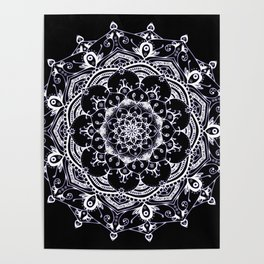 Lucid Dream Glowing mandala with a hint of purple on black. Poster