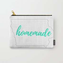 Iowa Outline - Homemade - White and Mint Carry-All Pouch