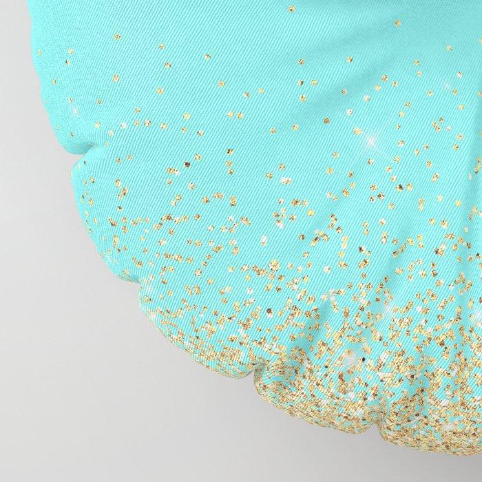 Sparkling gold glitter confetti on aqua teal damask background Floor Pillow