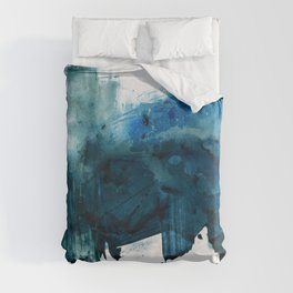 Change: A minimal abstract acrylic painting in blue and green by Alyssa Hamilton Art Duvet Cover