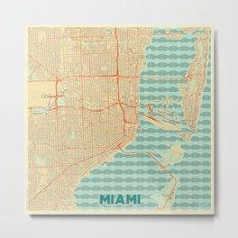 Miami Map Retro Metal Print