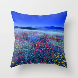 Spring poppies at blue hour Throw Pillow
