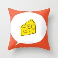 cheese Throw Pillows featuring cheese by ariel kotzer