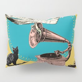The Cat and the Song Cat (emerald) Pillow Sham
