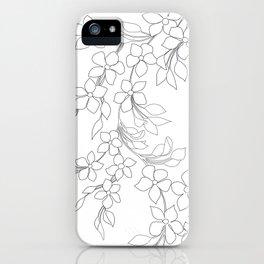 Minimal Wild Roses Line Art iPhone Case