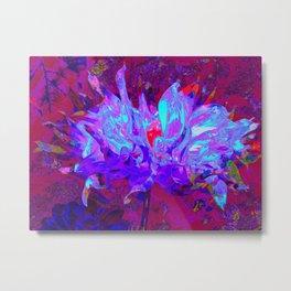 Stunning Psychedelic Dark Blue Cactus Dahlia Metal Print