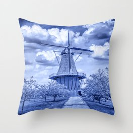 Delft Blue Dutch Windmill Throw Pillow