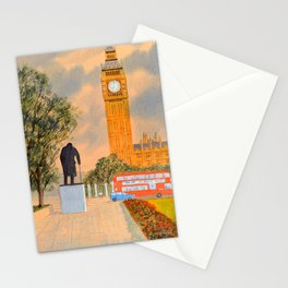 Churchill And Big Ben Westminster London Stationery Cards