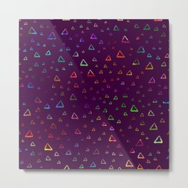 Watercolor rainbow colorful triangles on violet Metal Print