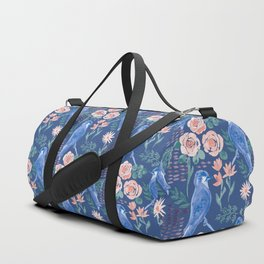 Navy Bird in Rose Bush Duffle Bag