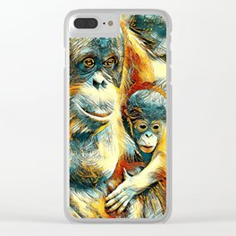 AnimalArt_OrangUtan_20170910_by_JAMColorsSpecial Clear iPhone Case