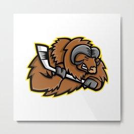 Musk Ox Ice Hockey Mascot Metal Print