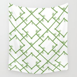 Bamboo Chinoiserie Lattice in White + Green Wall Tapestry