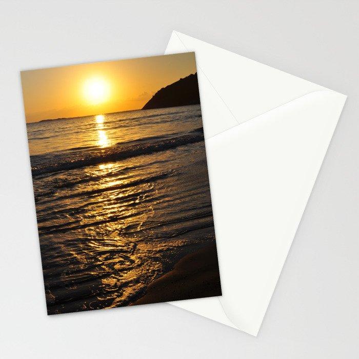 Tropical beach on summer sun Stationery Cards
