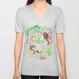 170623 Colour Shapes Watercolor 1  | Abstract Shapes Drawing | Abstract Shapes Art| Watercolor Paint Unisex V-Neck