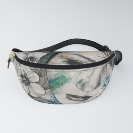 Cleopatra's Sling (flower tattoo lady portrait drawing) Fanny Pack