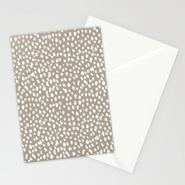 White on Dark Taupe spots Stationery Cards