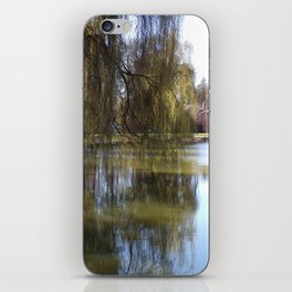 Old Weeping Willow Tree Standing Next To Pond iPhone Skin