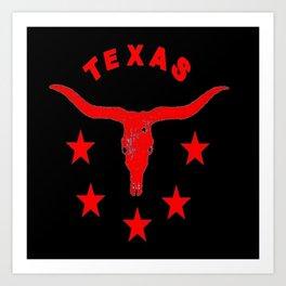Western Texas Longhorn Logo Red & Black Pattern Art Art Print