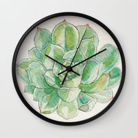 succulent Wall Clocks featuring Succulent by ladybones