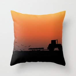 Ploughing the Field Throw Pillow