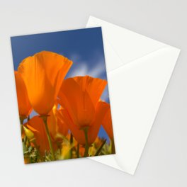 California Vibrant Orange Poppies in the Blue Sky Stationery Cards