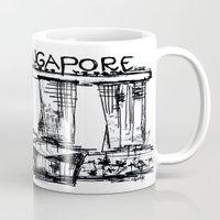 singapore Mugs featuring I love Singapore by sladja