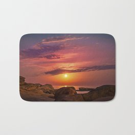 """Magical landscape with clouds and the moon going up in the sky in """"La Costa Brava, Spain"""" Bath Mat"""