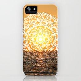 Fiery Orange Sunset Mandala iPhone Case