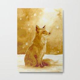 Fox in winter wonderland  Metal Print