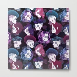 Skull Hair Pattern Metal Print
